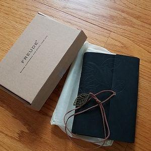 Freude Black Leather Journal Spiral Notebook Pen